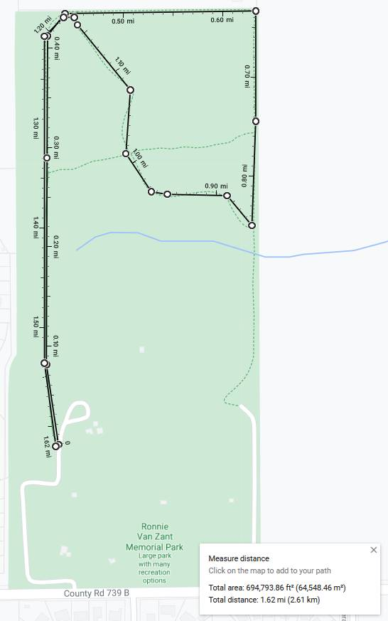 map of Ronnie VanZant park showing running route