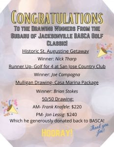 congratulatory flyer naming the winners of the golf tournament