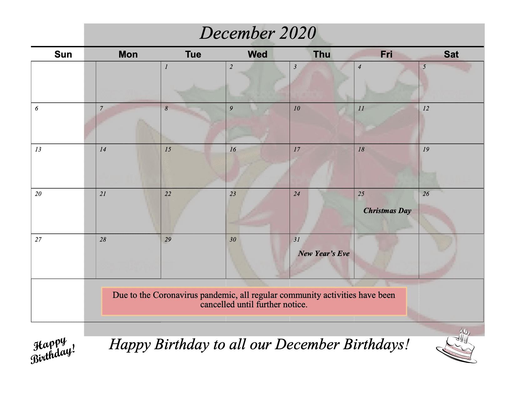 Dec. 2020 Calendar & Activities - website