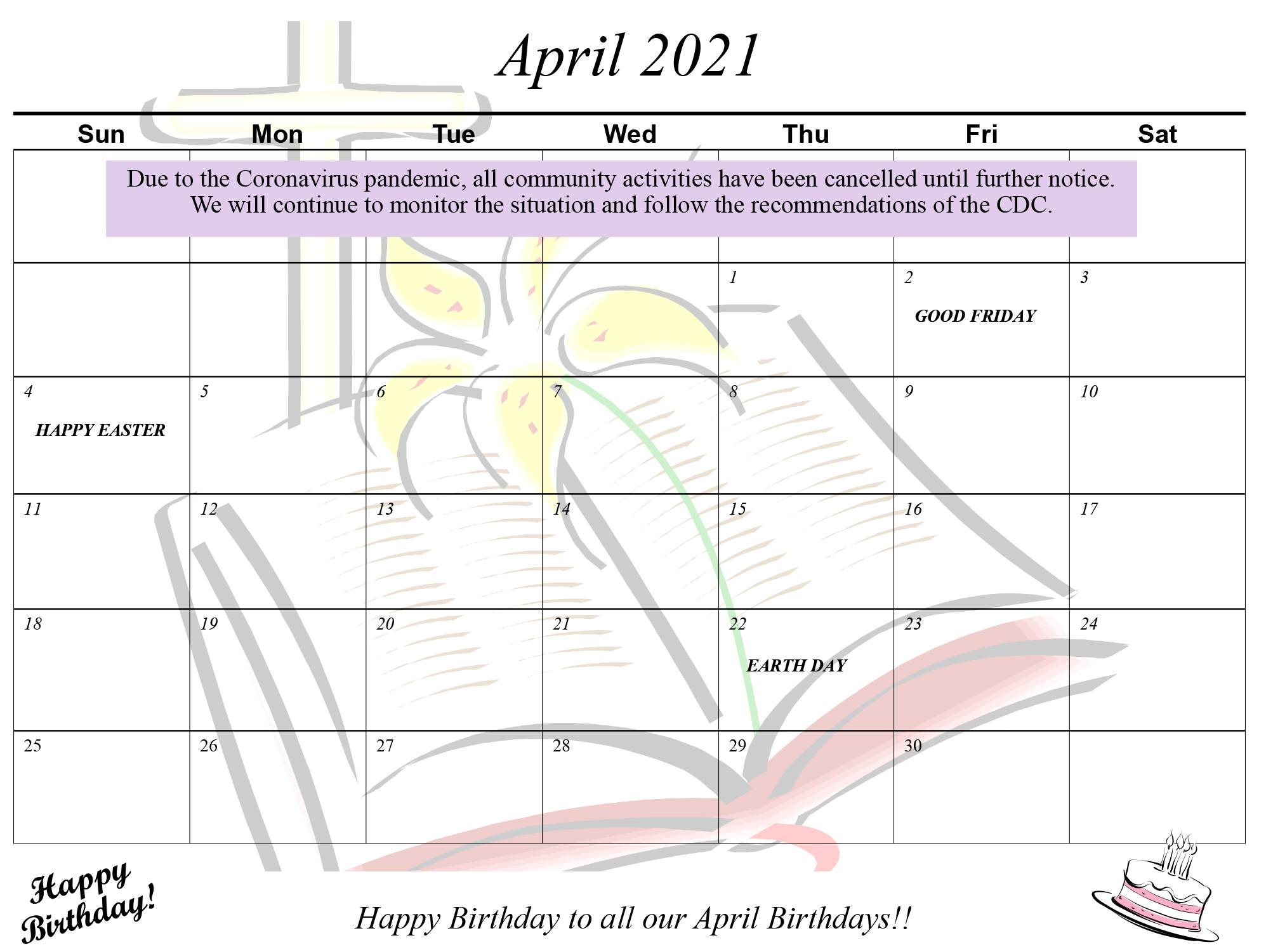 April calendar BASCA