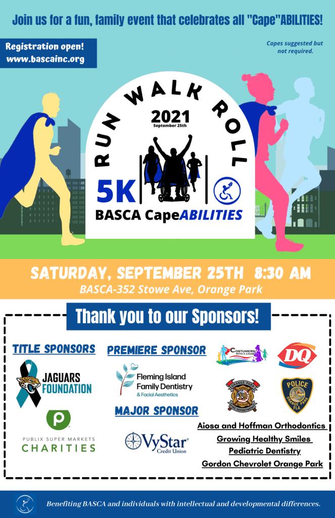 poster for annual 5K run fundraiser for BASCA